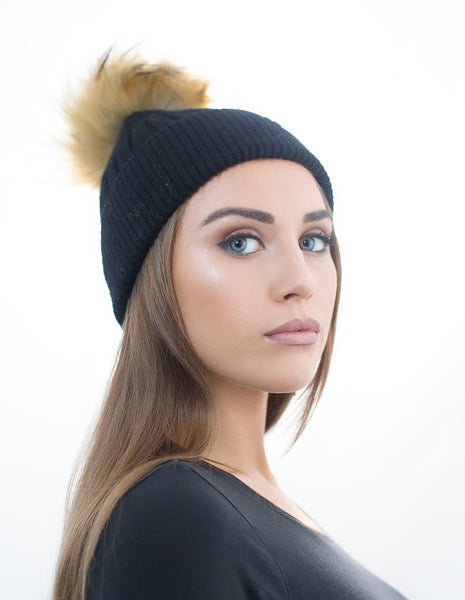 Angora Faux Pom Pom Hat - Black With Natural Faux Pom Pom