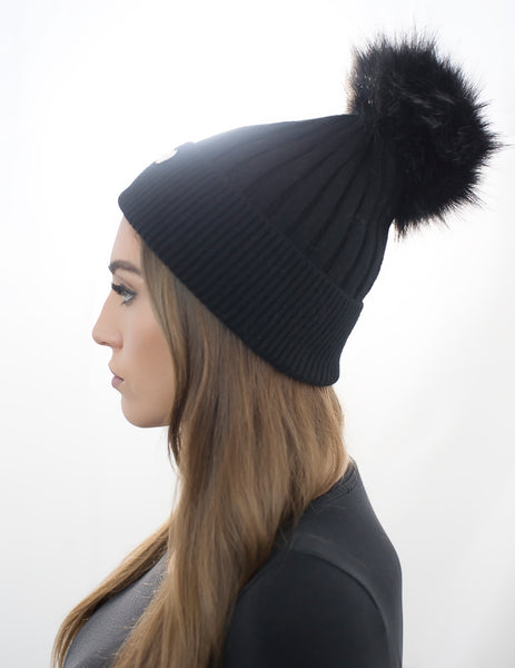 Angora Faux Pom Pom Hat - Black with Black Faux Pom Pom