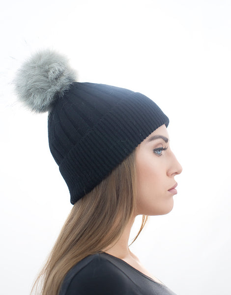 Angora Faux Pom Pom Hat - Black With Grey Faux Pom Pom