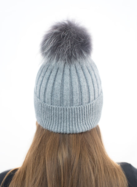 Angora Pom Pom Hat - Dark Grey