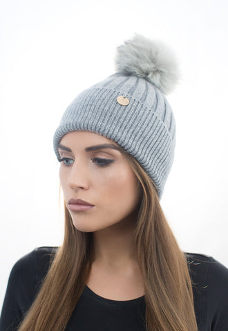 Angora Faux Pom Pom Hat - Dark Grey with Grey Faux Pom Pom