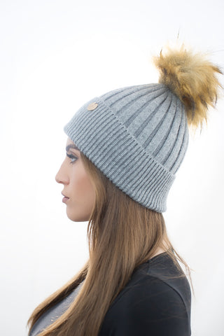 Angora Faux Pom Pom Hat - Light Grey with Natural Faux Pom Pom