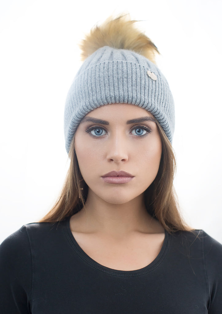 Angora Faux Pom Pom Hat - Dark Grey with Natural Faux Pom Pom