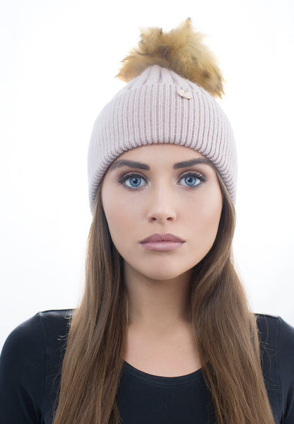 Sale Angora Faux Pom Pom Hat - Beige with Natural Faux Pom Pom