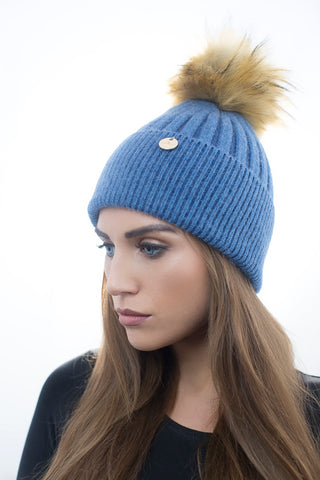 Angora Faux Fur Pom Pom Hat - Blue with Natural Faux Pom Pom