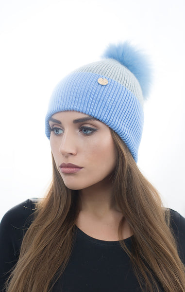 Angora Pom Pom Hat - Blue/Grey
