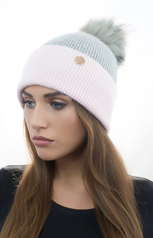 Angora Faux Pom Pom Hat - Pink/Grey with Grey Faux Pom Pom