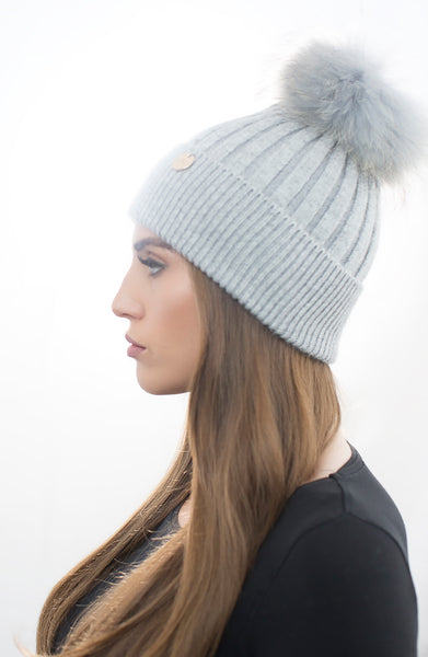 Angora Pom Pom Hat - Light Grey