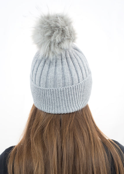 Angora Faux Pom Pom Hat - Light Grey with Grey Faux Pom Pom