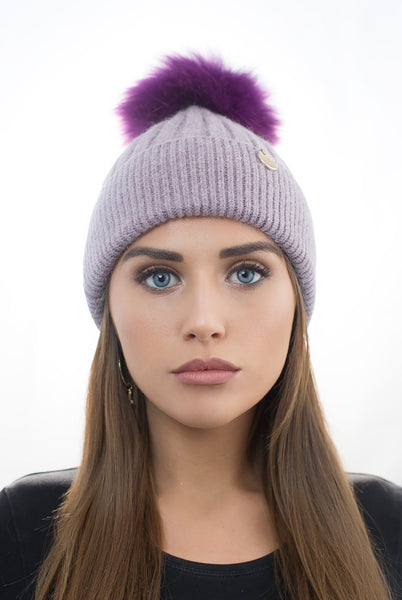 Angora Pom Pom Hat - Purple