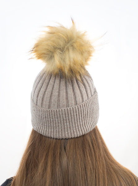 Angora Faux Pom Pom Hat - Beige with Natural Faux Pom Pom