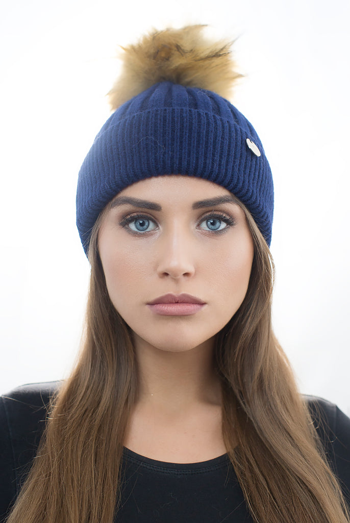 Angora Faux Pom Pom Hat - Navy with Natural Faux Pom Pom