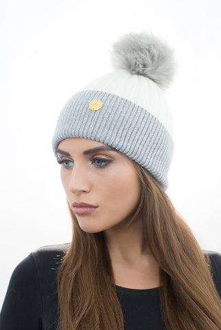 Cream/Grey Cashmere Faux Fur Pom Pom Hat With Grey Faux Fur Pom Pom