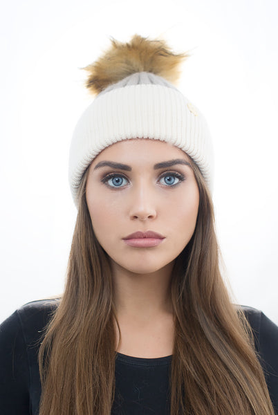Fawn/Cream Cashmere Pom Pom Hat With Natural Faux Fur Pom Pom