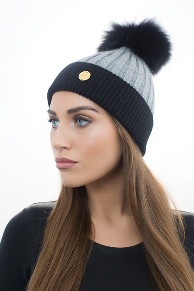 Cashmere Faux Pom Pom Hat - Black/Grey with Black Faux Pom Pom