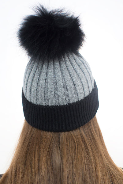 Angora Pom Pom Hat - Black/Grey
