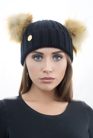 Faux Fur Double Pom Pom Hat Black with Natural Pom Poms