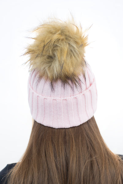 Baby Pink Faux Fur Pom Pom Hat with Natural Faux Fur Pom Pom