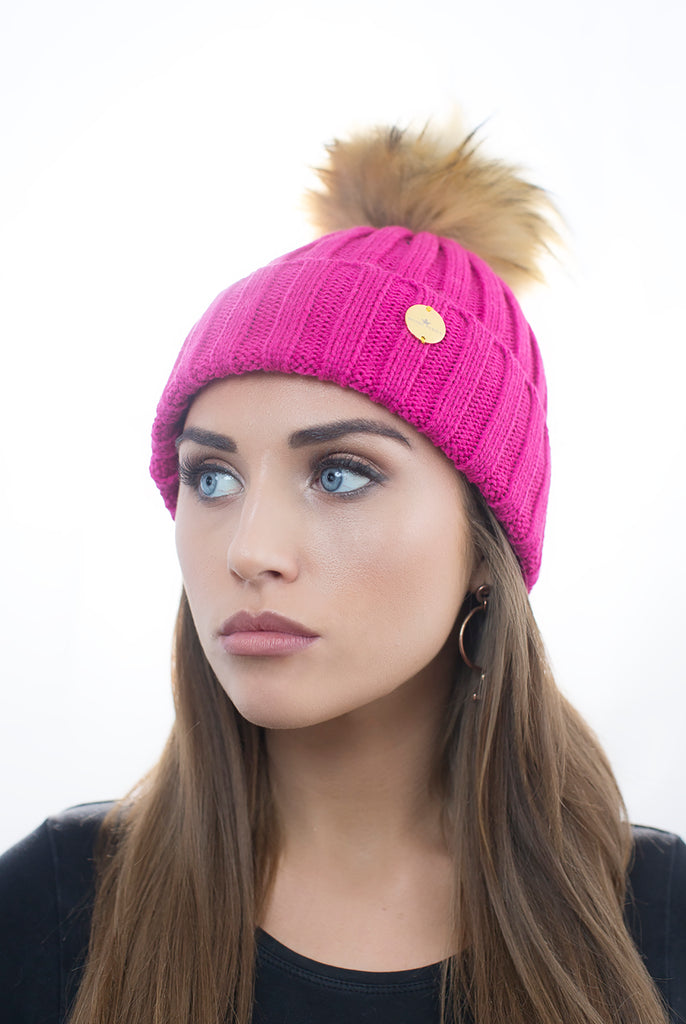Fuchsia Faux Fur Pom Pom Hat with Natural Faux Fur Pom Pom