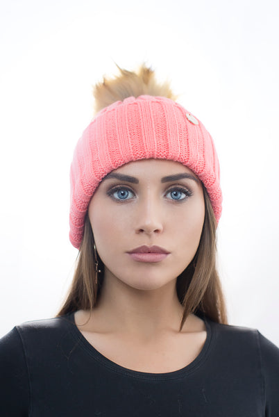Coral Faux Fur Pom Pom Hat with Natural Faux Fur Pom Pom