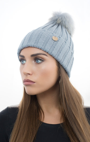 Light Grey Pom Pom Hat