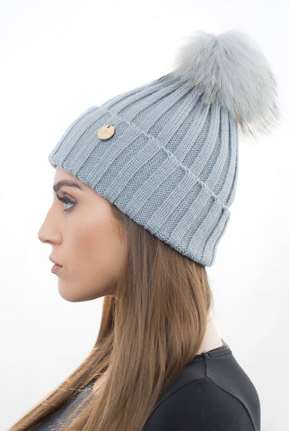 Light Grey Fur Pom Pom Hat
