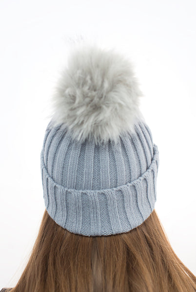 Light Grey Pom Pom Hat with Grey Faux Fur Pom Pom