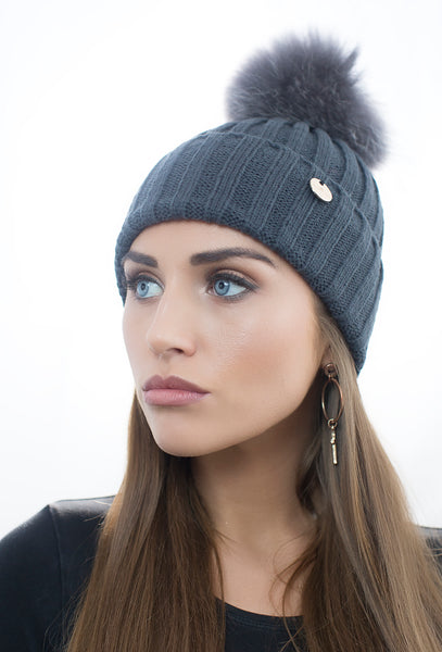 Dark Grey Pom Pom Hat