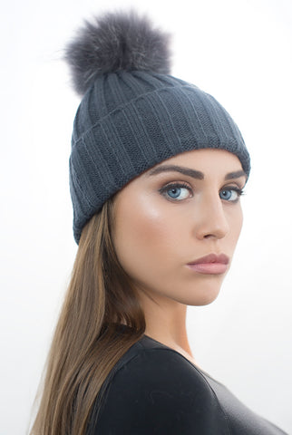 Dark Grey Fur Pom Pom Hat