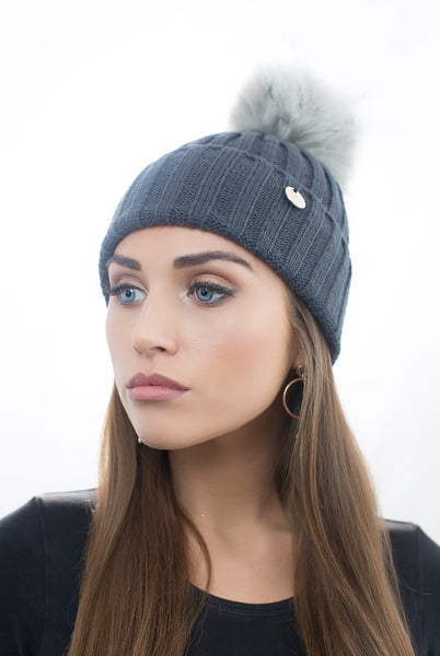 Dark Grey Faux Fur Pom Pom Hat with Grey Faux Fur Pom Pom