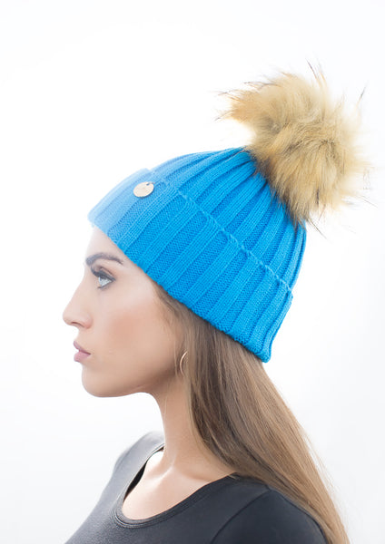 Blue Faux Fur Pom Pom Hat with Natural Faux Fur Pom Pom