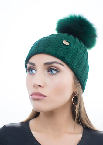Green Fur Pom Pom Hat