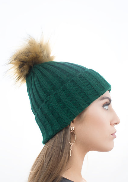 Green Pom Pom Hat with Natural Faux Fur Pom Pom