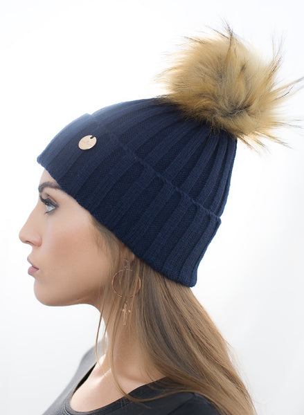 Navy Faux Fur Pom Pom Hat with Natural Faux Fur Pom Pom