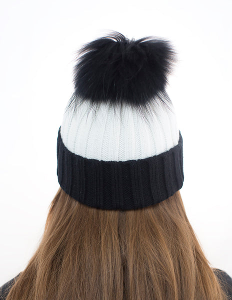 Monochrome White/Black Fur Pom Pom Hat