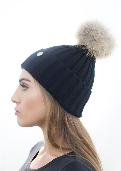 Black Fur Pom Pom Hat with Natural Fur Pom Pom
