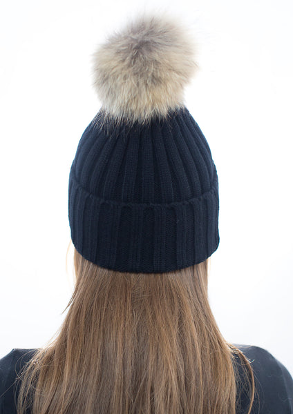 Black Pom Pom Hat with Natural Pom Pom