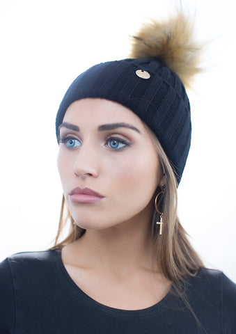 Black Faux Fur Pom Pom Hat with Natural Faux Fur Pom Pom