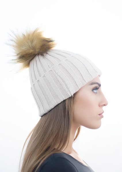 Beige Faux Fur Pom Pom Hat with Natural Faux Fur Pom Pom