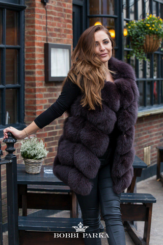 Full Fox Fur Vest / Gilet - Chocolate Brown
