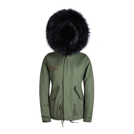 Raccoon Fur Collar Parka Jacket with Black Fur -  - 1