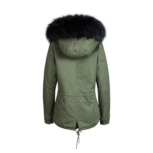 Raccoon Fur Collar Parka Jacket with Black Fur -  - 2