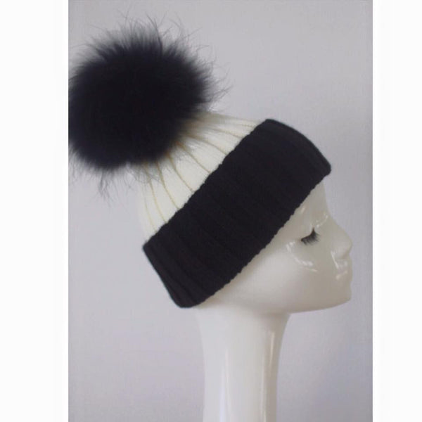 Monochrome White/Black Fur Pom Pom Hat -