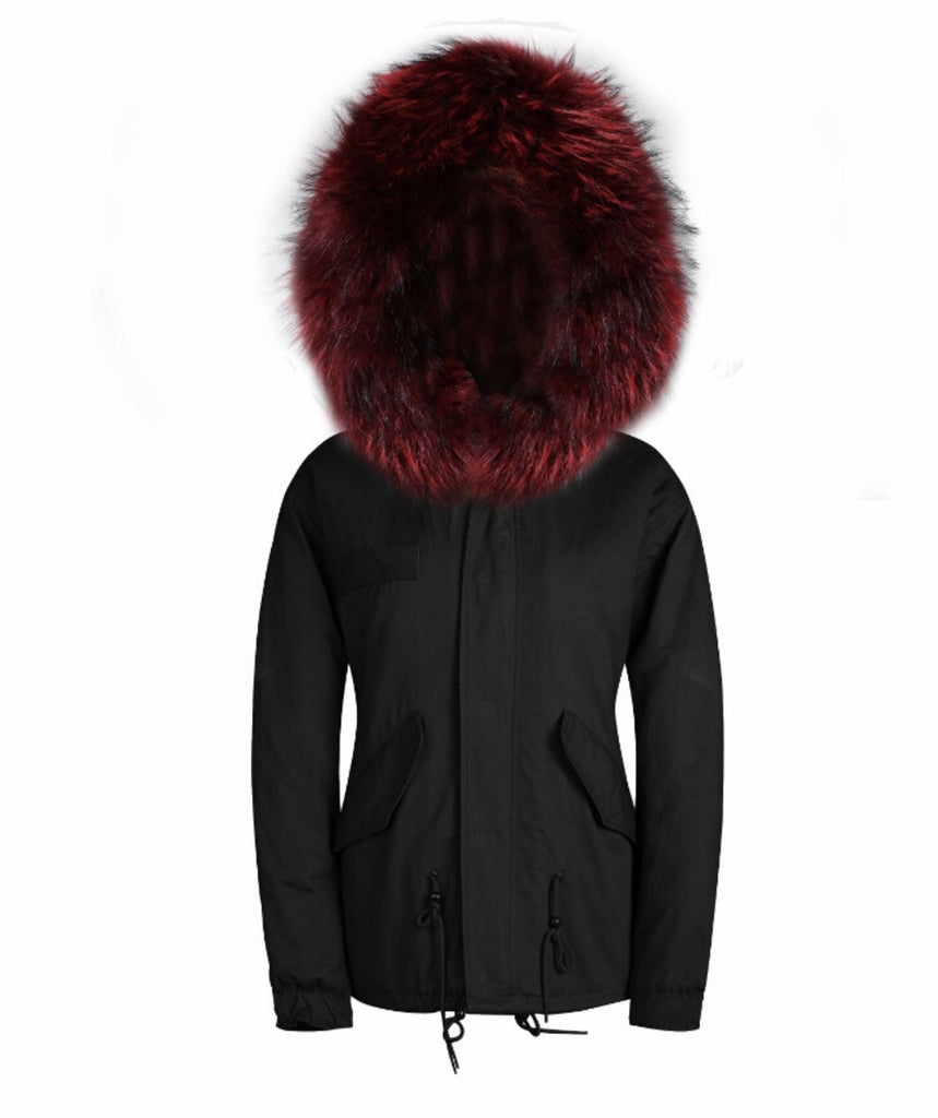 Ladies Luxury Parka Jacket with Red Collar