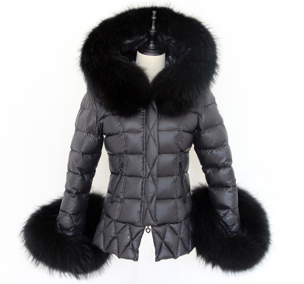 Black Quilted Down Jacket Oversized Raccoon Fur Hood -  - 1