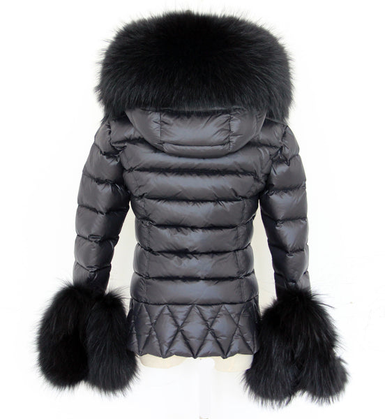 Black Quilted Down Jacket Oversized Raccoon Fur Hood -  - 2
