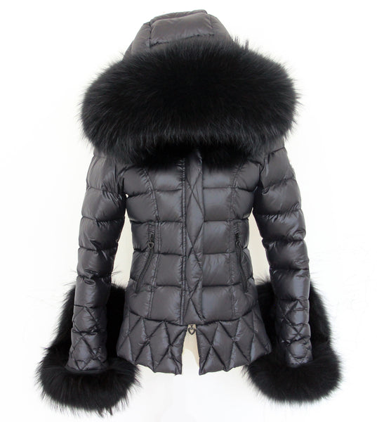 Black Quilted Down Jacket Oversized Raccoon Fur Hood -  - 5