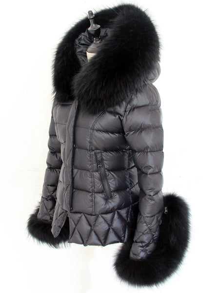 Black Quilted Down Jacket Oversized Raccoon Fur Hood -  - 3