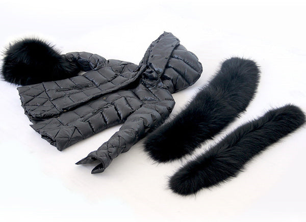 Black Quilted Down Jacket Oversized Raccoon Fur Hood -  - 4