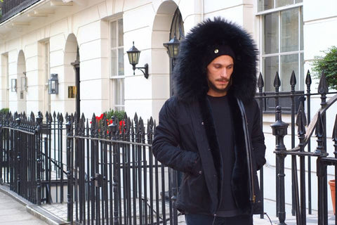 Mens Fur Collar Parka Jacket with Black Fur